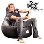 i-ex gaming bean bag chair with man gaming